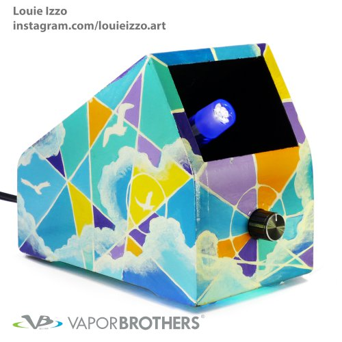 LOUIE IZZO Art Vaporbrothers Vaporizer - Hands Free - 120V LOUIE IZZO, art, vapor art, visionary art, vapor brothers hands free vaporizer, whip, vaporbrothers, handsfree, box vaporizer, vaporbox, ceramic, glass pipes